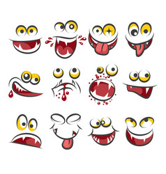 cartoon faces emotions isolated on white vector image