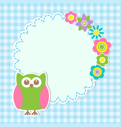 cute owl and flowers vector image