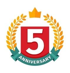 Happy fifth birthday badge icon vector