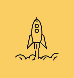 isolated linear icon of business rocket rises up vector image