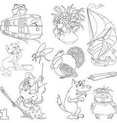 Set of cartoon images vector image vector image