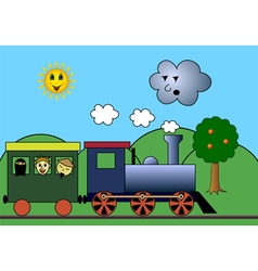Steam train on road vector image vector image