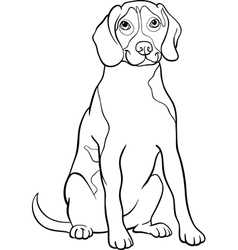 beagle dog cartoon for coloring book vector image