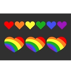Gay lgbt rainbow hearts set vector