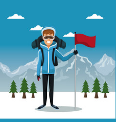 winter mountain landscape poster with skier man vector image