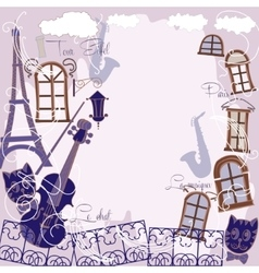 Background with music cat and saxophone vector image vector image