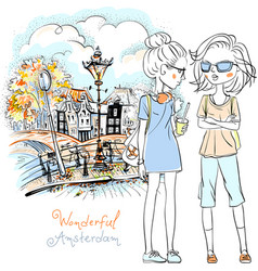 Beautiful fashion girls in amsterdam vector