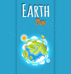 earth day holiday poster with planet vector image vector image