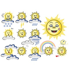 emotions sun with cloud and weather vector image vector image