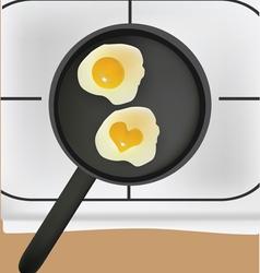 fried eggs in black pan vector image