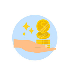 Hand holding gold coins isolated on white vector