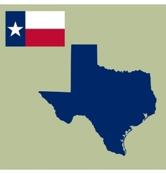map of the US state of Texas with flag vector image