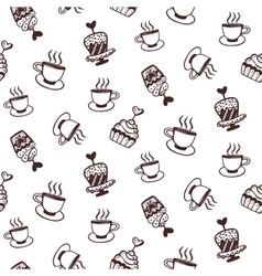 Seamless pattern with cakes and coffee cups vector image