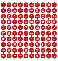 100 doctor icons hexagon red vector image