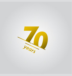 70 years anniversary celebration gold line vector