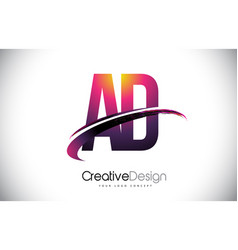 Ad a d purple letter logo with swoosh design vector