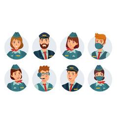 Air crew avatars airline pilot ship captain vector