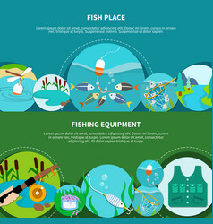 Angling gear banners collection vector