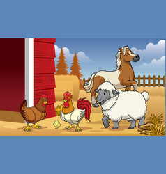 animals farm in the barn vector image