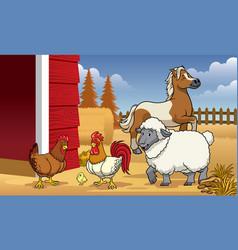 animals farm in the barn vector image