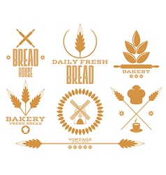 Bakery Bread Wheat Isolated labels on white vector image