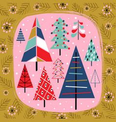 basic rgbdecorative card with christmas trees vector image