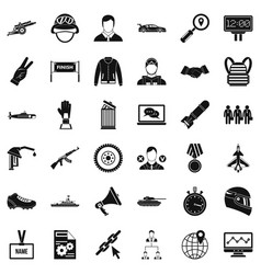 Big victory icons set simple style vector