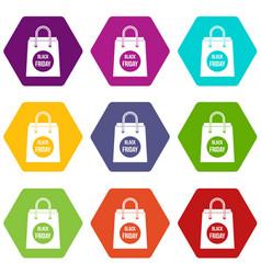 black friday shopping bag icon set color vector image
