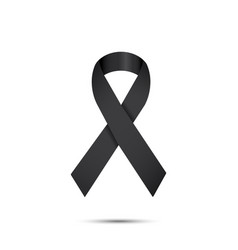 black ribbon mourning and melanoma sign vector image