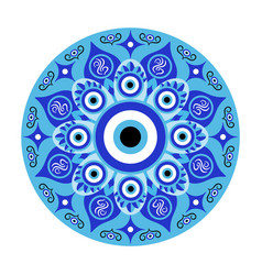 Blue mandala evil eye greek amulet against evil vector