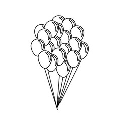 Bunch of balloons flying decorative celebration vector