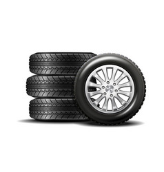 car tires isolated on white background vector image vector image