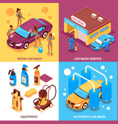 Car wash isometric design concept vector