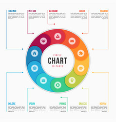 Circle chart infographic template with 10 parts vector
