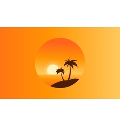 Collection of beach scenery silhouettes vector