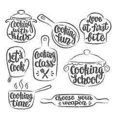 Collection of grunge contoured cooking objects vector