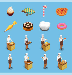 Confectionery chef isometric icons set vector
