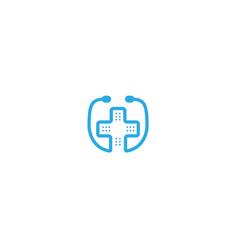 creative stethoscope hospital logo vector image