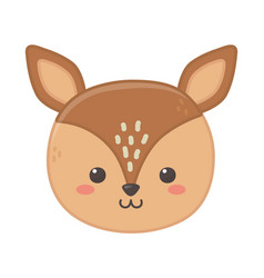 cute little deer head animal cartoon vector image