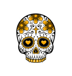 day dead skull sugar flower tattoo vector image