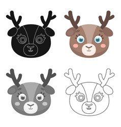 deer muzzle icon in cartoon style isolated on vector image