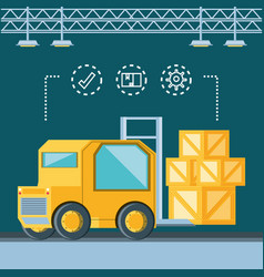 delivery service forklift icon vector image