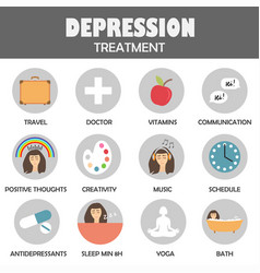 Depression treatment icons vector