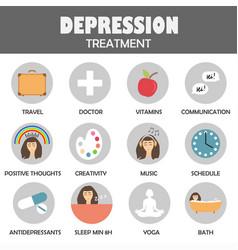 Depression treatment icons vector
