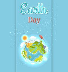 Earth day template colorful poster with planet vector