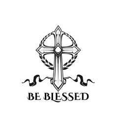 Easter cross be blessed religion quote icon vector