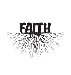 faith text and idea concept with leaves vector image