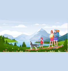 family outdoor adventure activity cartoon active vector image