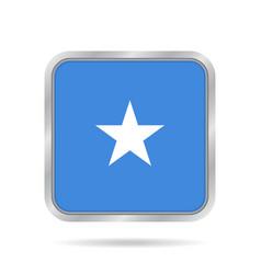 Flag of somalia shiny metallic gray square button vector