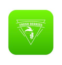 fresh berries icon green vector image